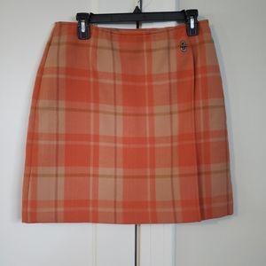 A Line Petites Orange Plaid Skirt